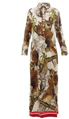 F.R.S For Restless Sleepers F.R.S – For Restless Sleepers Aura Owl-print Silk-crepe Dress - Womens - Ivory Multi