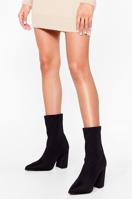 Nasty Gal Womens Sock It to Me Wide Fit Heeled Boots - Black