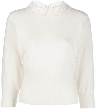 Valentino lace collar knitted jumper