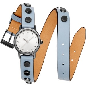 Rebecca Minkoff Women's Bffl Studded Dusty Blue Double Wrap Leather Strap Watch 25mm