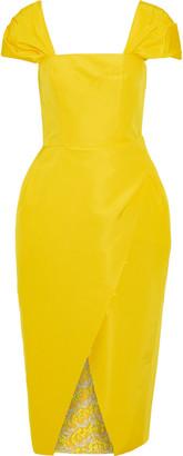 Carolina Herrera Wrap-effect Guipure Lace-trimmed Silk-faille Midi Dress