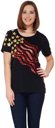 Factory Quacker Stars and Stripes Sequin Short Sleeve T-shirt