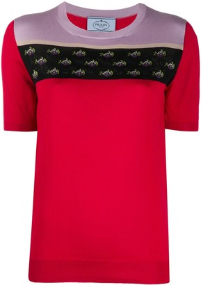 Prada Pre Owned Floral Intarsia Knitted Top