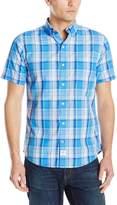 Izod Men's Short Sleeve Seaport Poplin Large Plaid Shirt