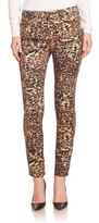 7 For All Mankind Leopard-Print Skinny Ankle Jeans
