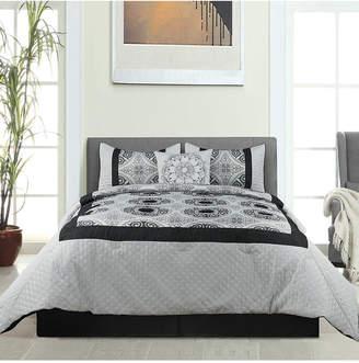 Hillsboro 5Pc Comforter Set Black King Bedding