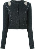 Maison Margiela embellished cropped cardigan - women - Cotton/Brass/Polymethyl Methacrylate/glass - M