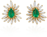 Suzanne Kalan One of a Kind 18K Gold, Emerald and Diamond Earrings