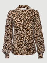 Frame Cheetah Silk Shawl Collar Blouse