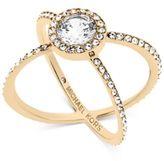 Michael Kors Crystal Pavé Crisscross Barrel Ring