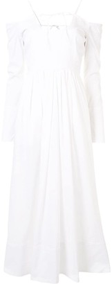 By Any Other Name Off-Shoulder Flared Midi Dress