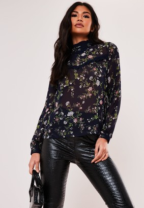 Missguided Navy Floral Chiffon High Neck Blouse