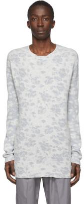 Jil Sander White Jacquard Open Crewneck Sweater