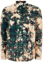 Topman Topman Finds Brown Check Bleached Tie Dye Stripe Shirt