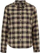Topshop Heart Embroidered Check Shirt