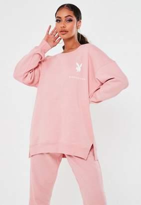 Missguided Playboy X Pink Crew Neck Sweatshirt