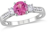 Allura 1.07 Count. T.W. Created Pink and .3 Count. T.W. Created White Sapphire with Diamond 3-Stone Engagement Ring in 10k White Gold
