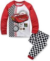 LEMONBABY boys casual cartoon cars long sleeve cotton pants pajamas set (4Y, )