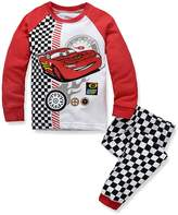 LEMONBABY boys casual cartoon cars long sleeve cotton pants pajamas set (5Y, )