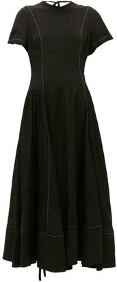Loewe Contrast-seam Crepe Dress - Black