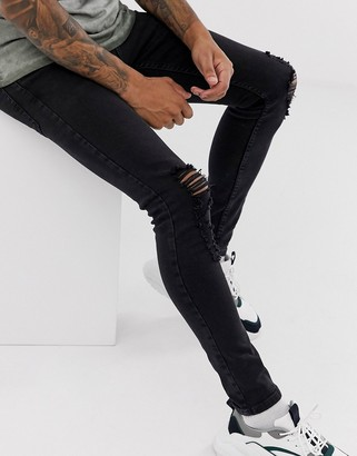 Topman spray on ripped jeans in black wash