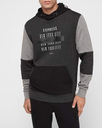 Express Gray Color Block Exp Graphic Hoodie