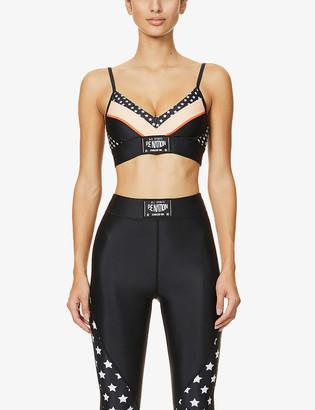 P.E Nation Off Side star-print stretch-jersey sports bra