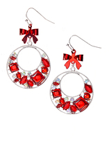 Carole Silvertone & Red Bow Drop Earrings