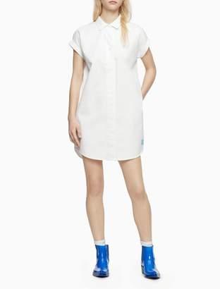 Calvin Klein Solid Button-Front Pop-Over Dress