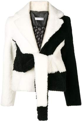 Saks Potts black and white lamb wool jacket