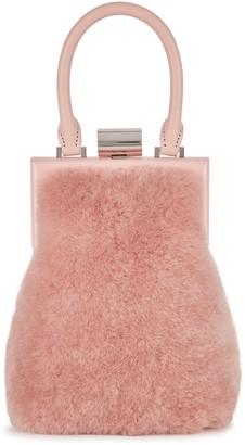 Perrin Paris Le Miniaudiere blush shearling top handle bag