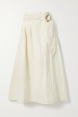 Mara Hoffman Net Sustain Esperanza Belted Organic Cotton And Linen-blend Jacquard Midi Wrap Skirt - Off-white