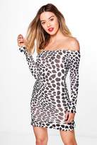 boohoo Petite Fiona Animal Print Frill Off The Shoulder Dress multi
