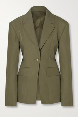 Deveaux Irina Belted Pleated Twill Blazer - Army green