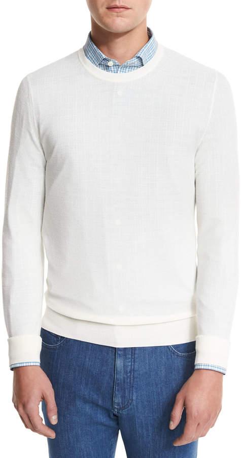 Ermenegildo Zegna Textured Crewneck Sweater, Natural