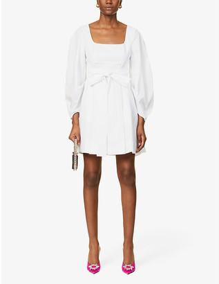 STAUD Isabella tie-belt cotton-poplin mini dress