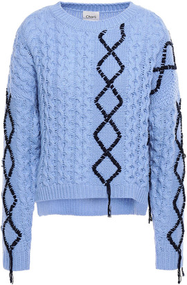 Charli Embroidered Cable-knit Sweater