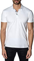 Jared Lang Line-Dot Revers Pique Polo Shirt, White