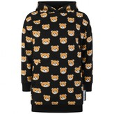 Moschino MoschinoGirls Black Teddy Print Hooded Sweater Dress