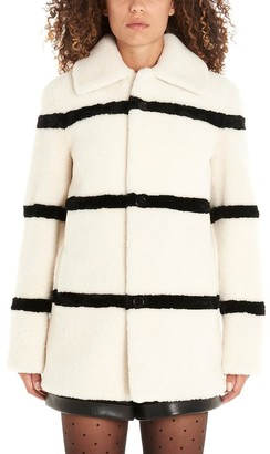 Saint Laurent Striped Shearling Single Breasted Coat
