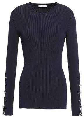 Thierry Mugler Lace-up Ribbed Stretch-knit Top