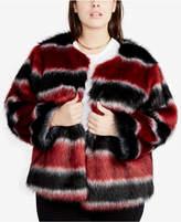 Rachel Roy Plus Size Striped Faux-Fur Coat