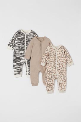H&M 3-pack Cotton Pajamas - Brown