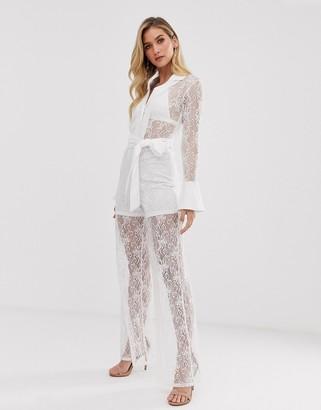 UNIQUE21 wide leg belted jumpsuit-White