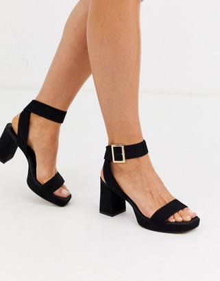 ASOS DESIGN Hopscotch platform heeled sandals in black