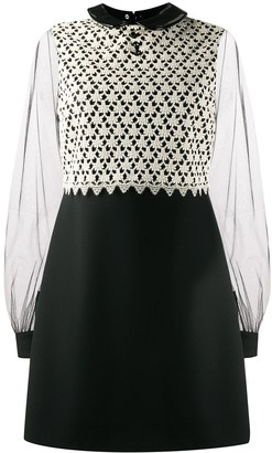Gucci Lace-Panelled Mini Dress