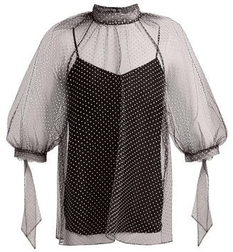 Erdem Nayla Polka-dot Tulle Blouse - Womens - Black White