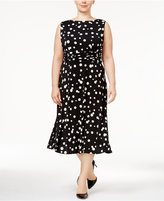 Jessica Howard Plus Size Polka-Dot Midi Dress
