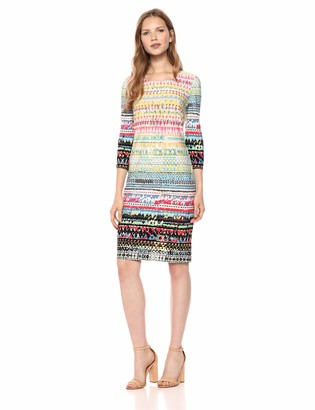 Chetta B Women's 3/4 Sleeve Border Print Sheath Dress