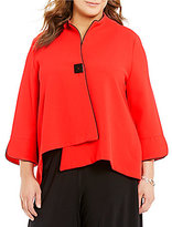 IC Collection Plus Stand Collar One Button Solid Asymmetrical Jacket